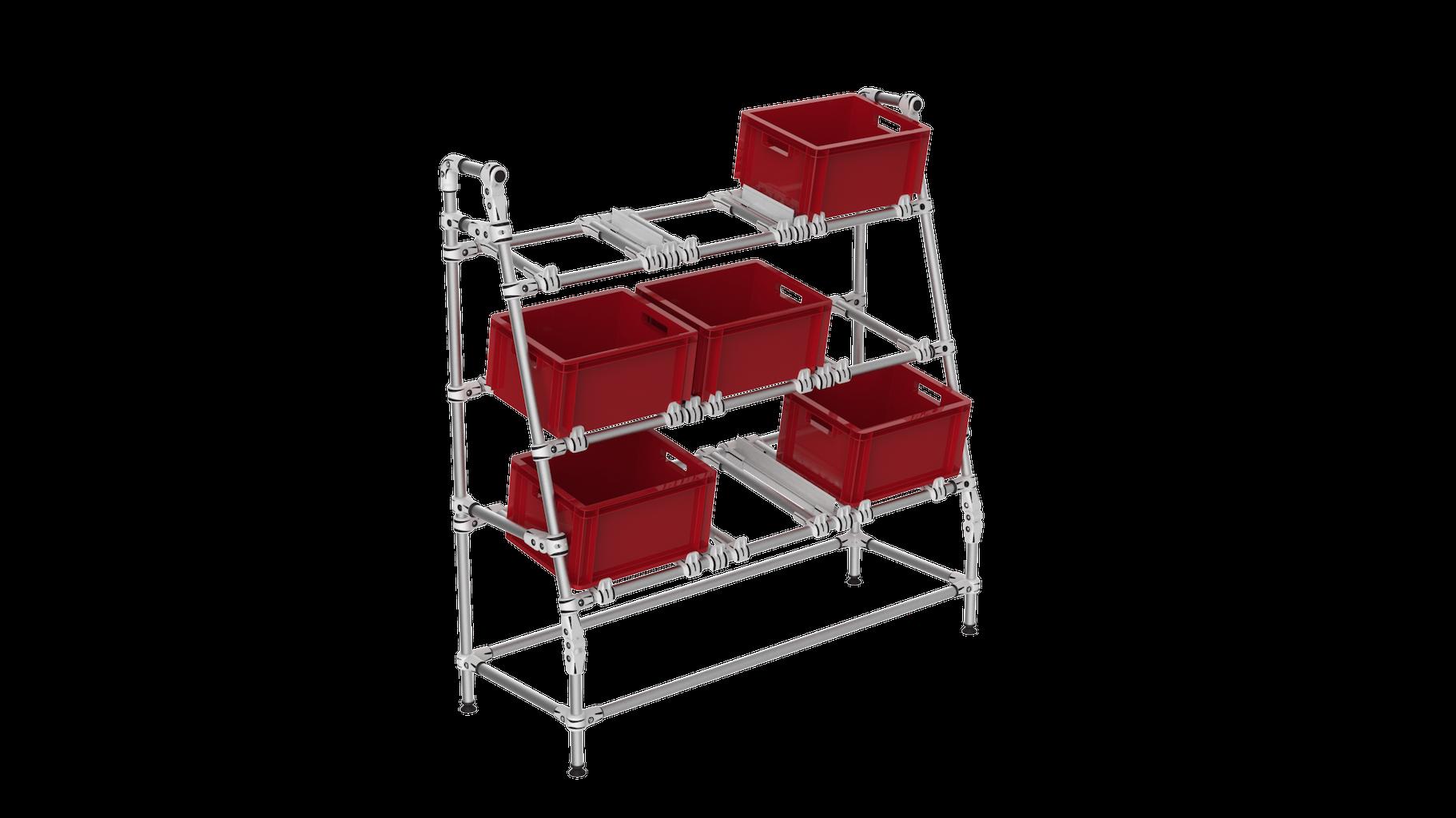 Flexible picking box shelf