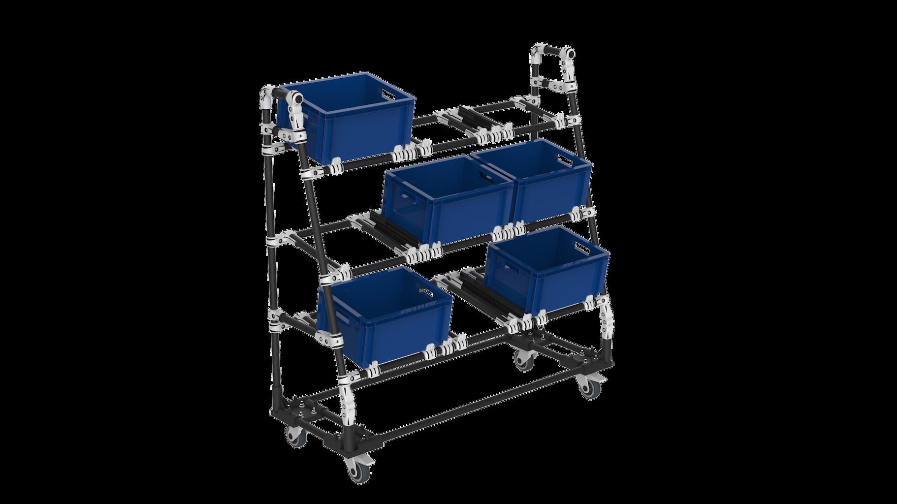 Présentoir mobile ergonomique picking boites