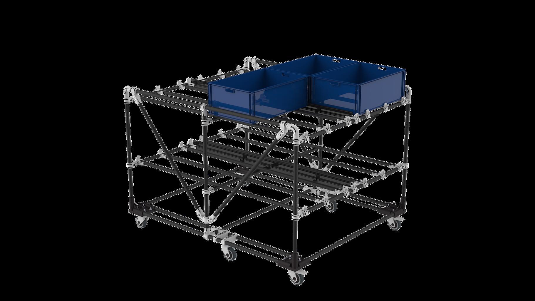 Plastic bin cart trolley