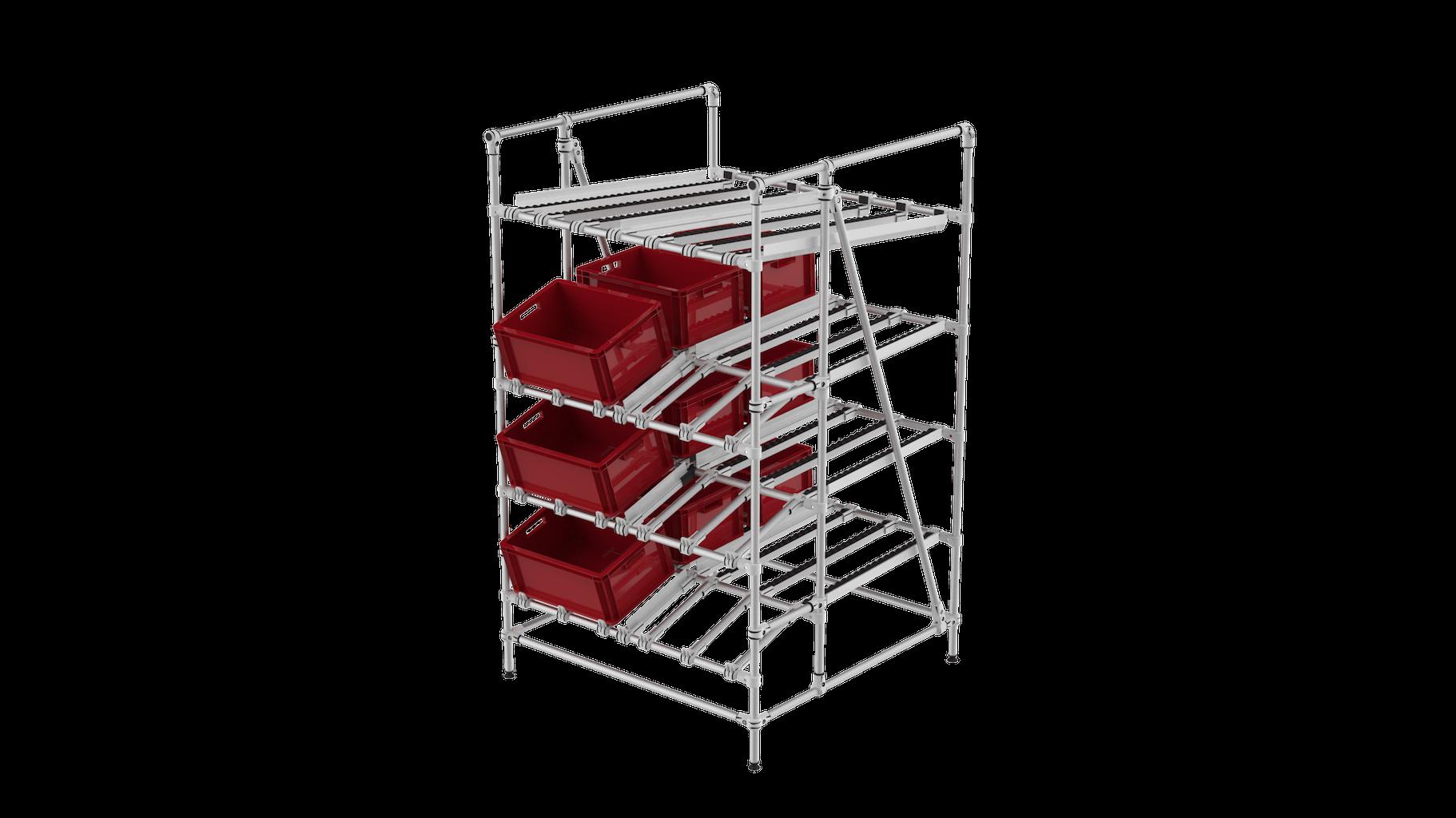 Adjustable ergonomic flow rack