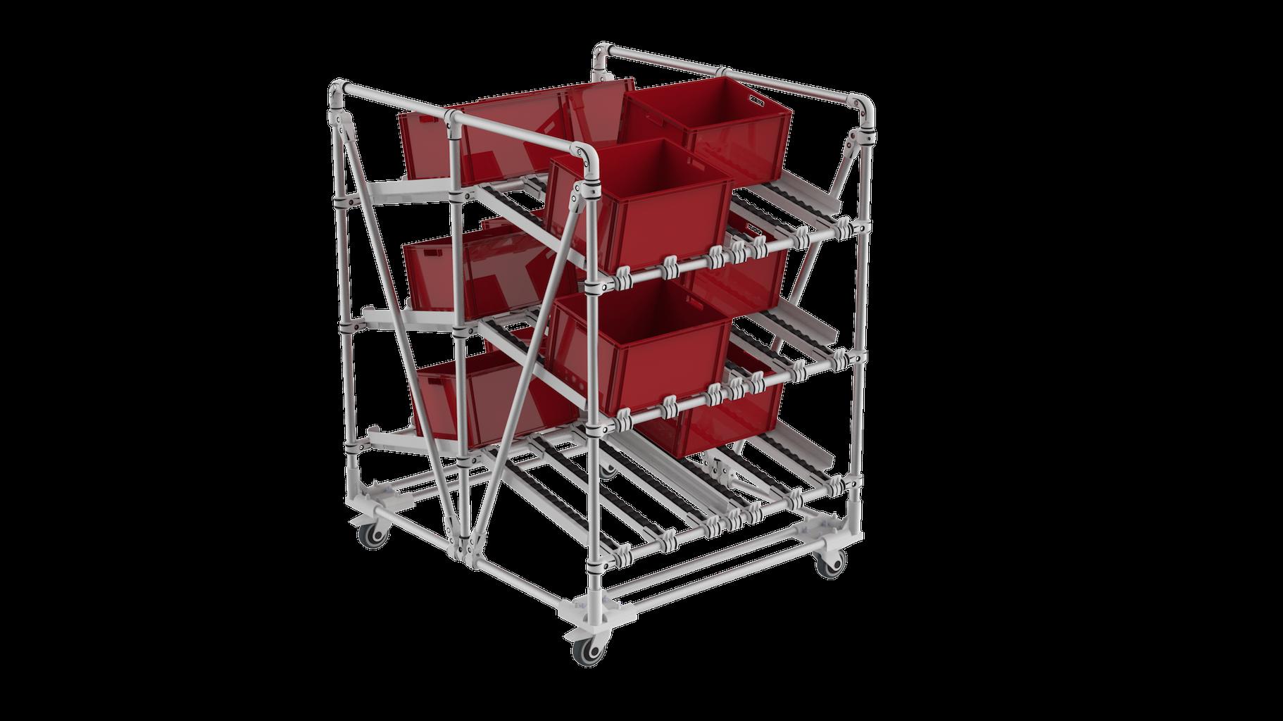 Plastic bin dual picking cart