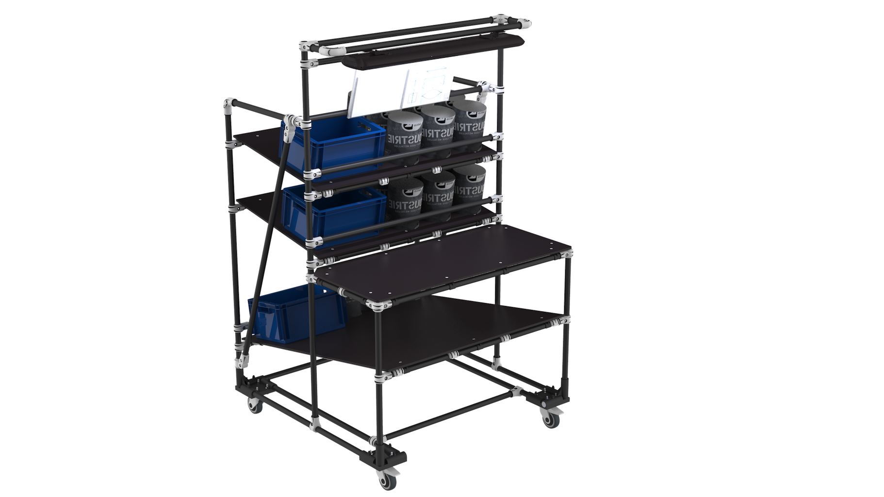 E-commerce packaging cart