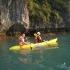 mit dem Kayak in der Halong Bucht