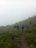 Anmarsch bei schlechtem Wetter am Freitag zur Rastkogelhütte