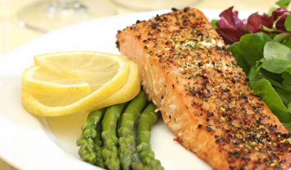 Atkins, Diet, Salmon, Asparagus, Lemon, Vegetables, Healthy