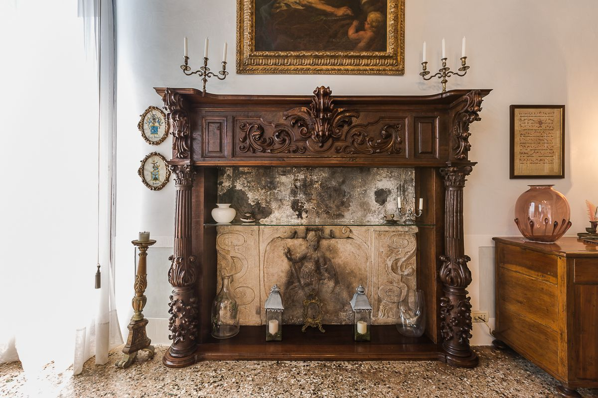 the fireplace of the library withnesses the history of this property