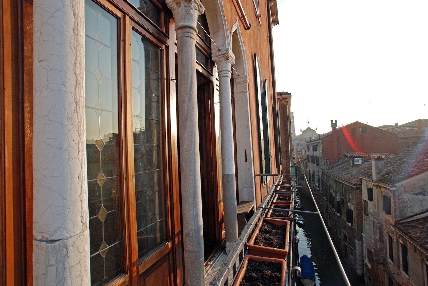 sunset on the balcony