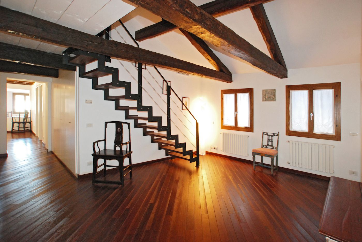 spacious entrance with staircase to the attic