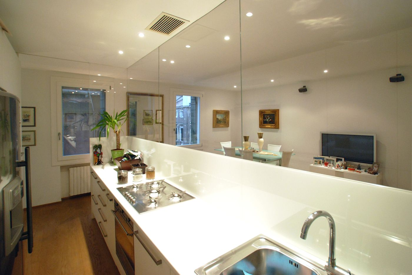 the kitchen is functional and stylish