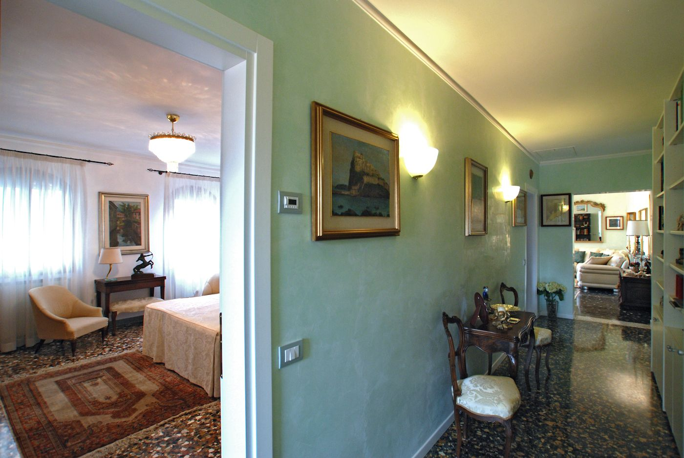 the second bedroom can be accessed from the central corridor