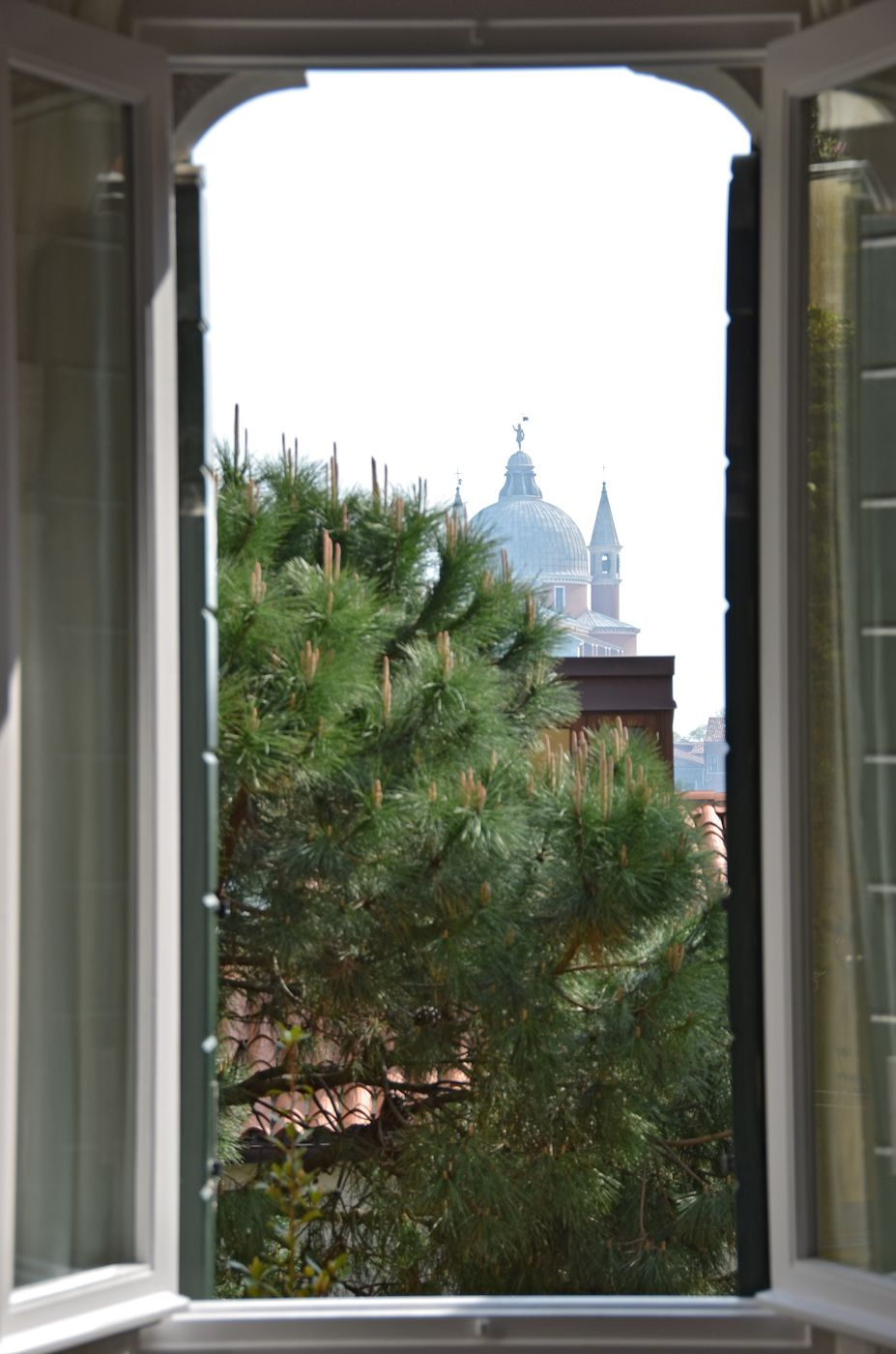 view on gardens and on Redentore Church from the living room