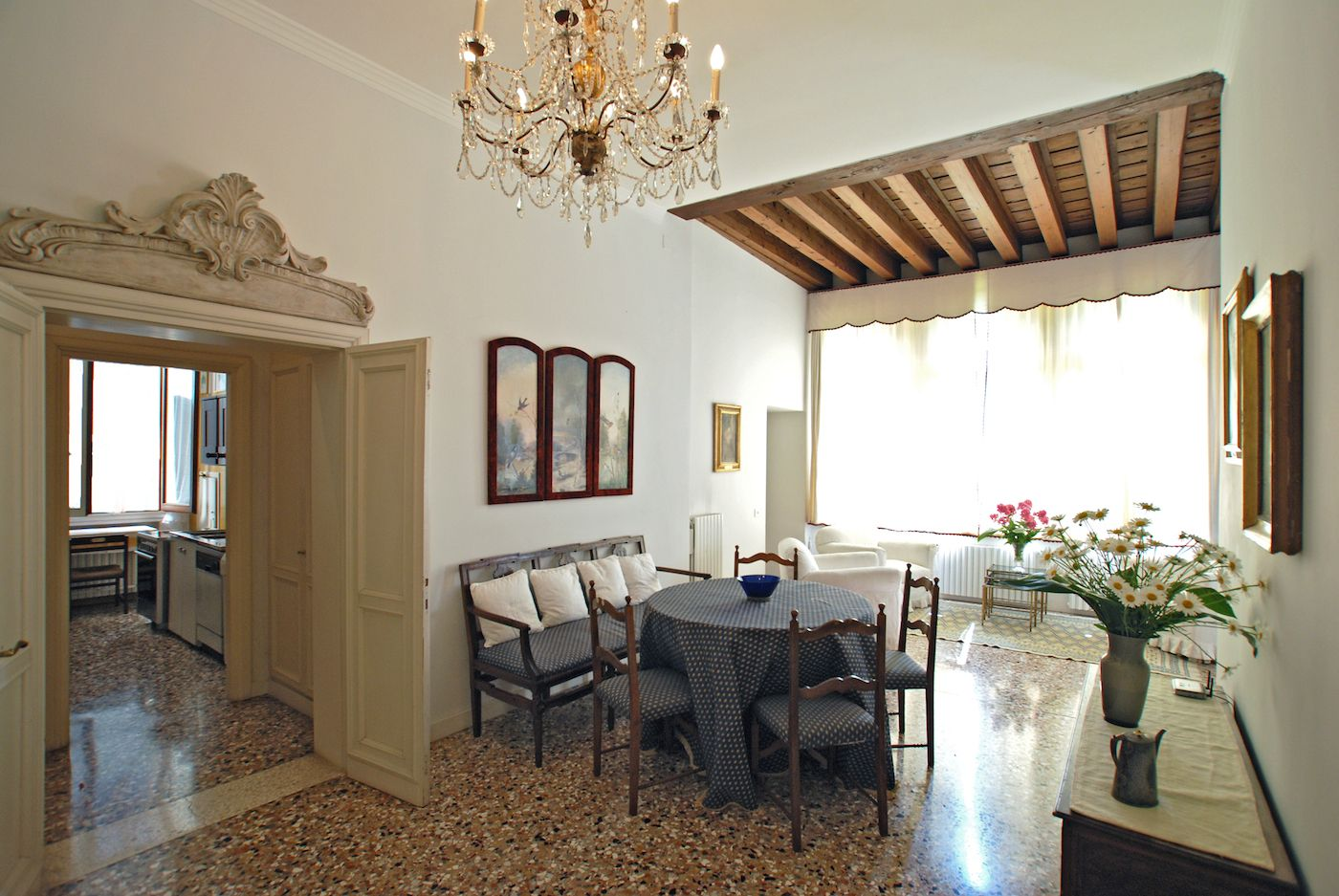 living / dining room of the Rezzonico Palace apartment