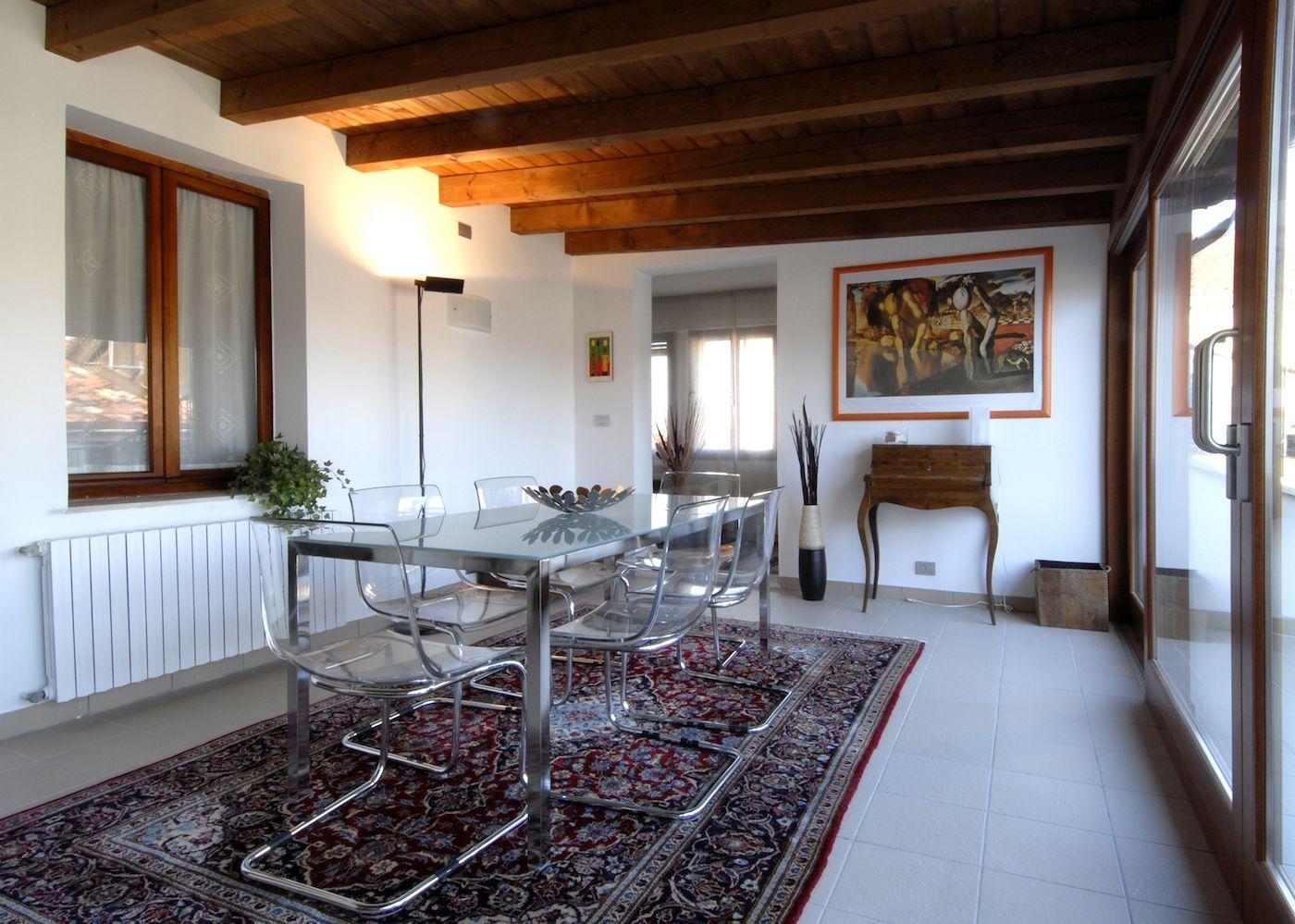the veranda leads to living room, terrace and kithcen