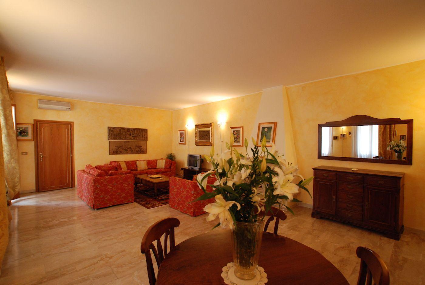 super spacious living room of the Bellini apartment