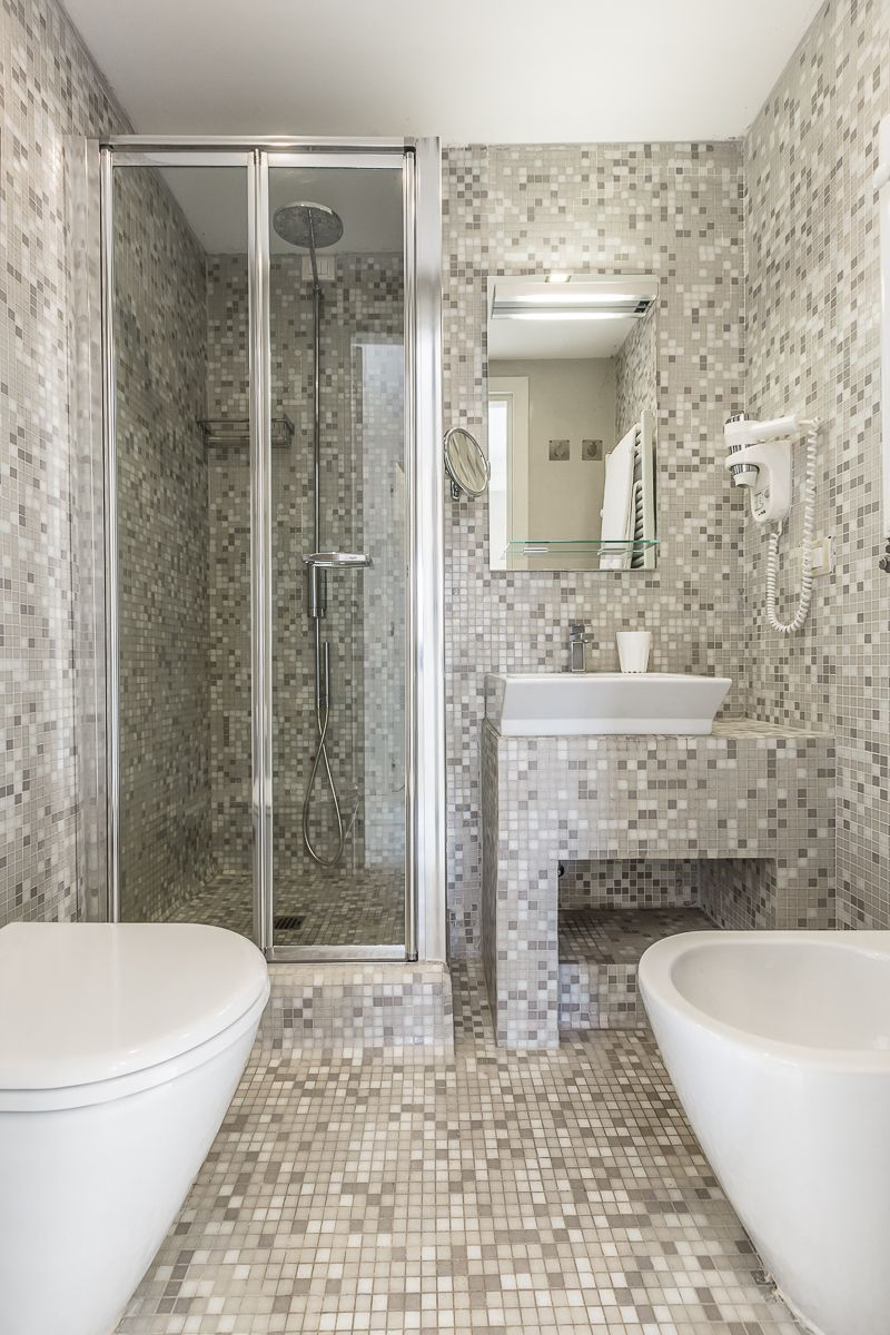 second mosaic bathroom with shower