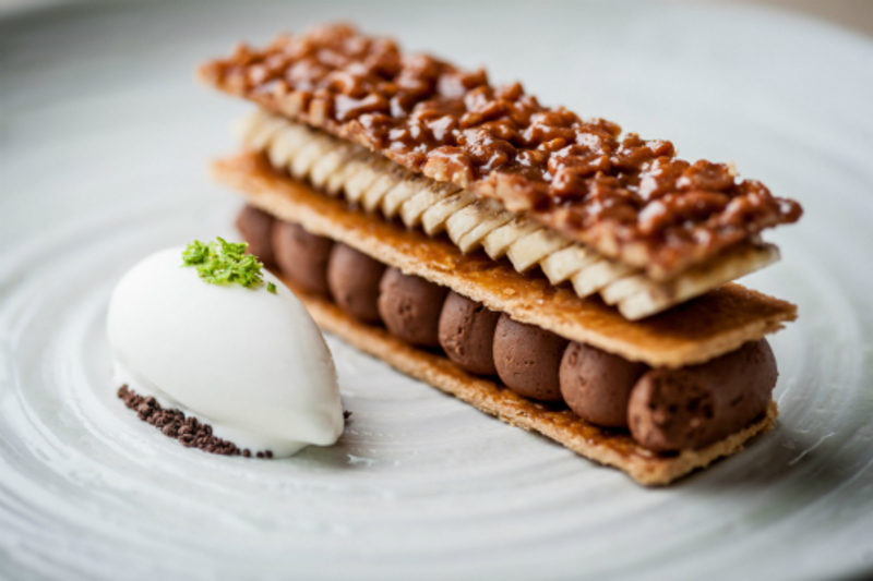 Banana Cocoa Slice Peanut Pastry Yoghurt And Lime Sorbet Copy Paul Ainsworth David Griffen Photography 194