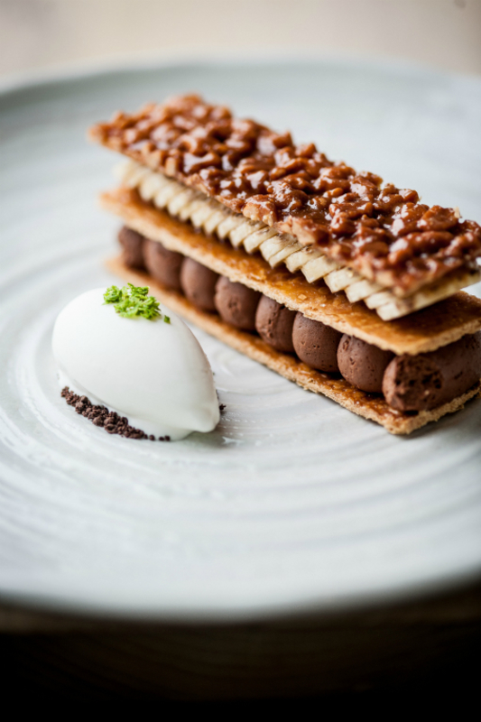 Banana Cocoa Slice Peanut Pastry Yoghurt And Lime Sorbet Paul Ainsworth David Griffen Photography