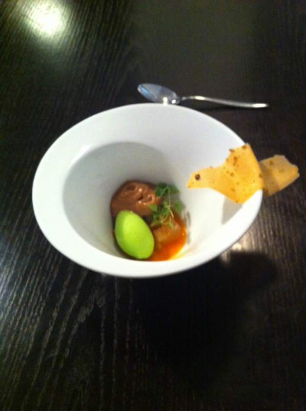11th Course Green Apple Sorbet Warm Chocolate Mousse 3