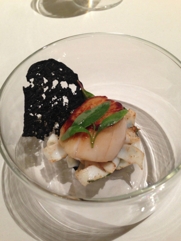 Orkney scallop, cuttlefish, caraway & mint
