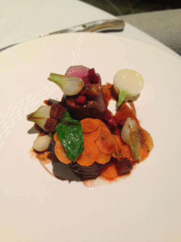 Devon ruby red sirloin & cheek, turnips, sand carrots, croutons