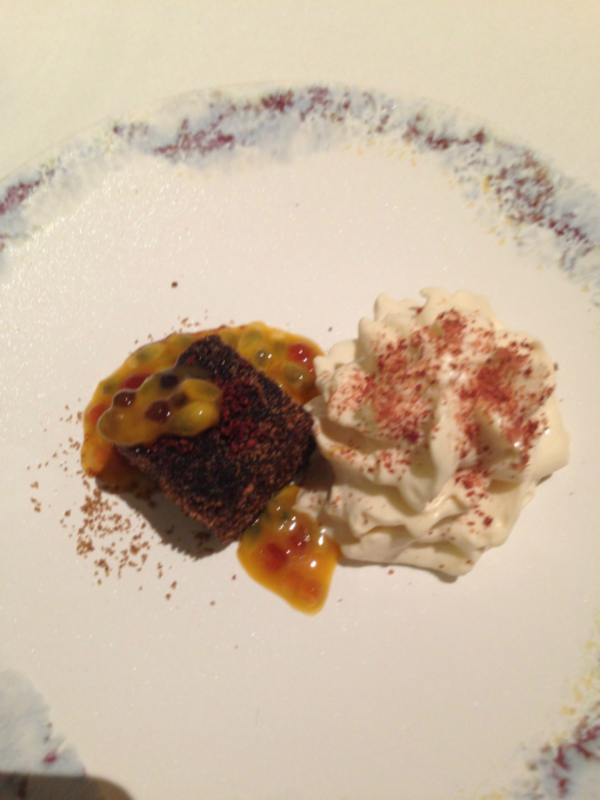 Chocolate cake, masarla, masacpone & passion fruit