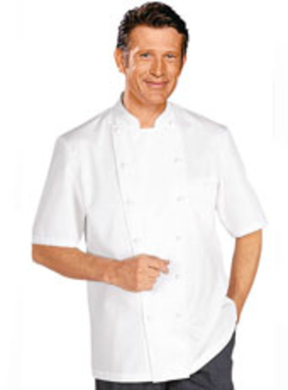 GRAND CHEF White Jacket (Short Sleeves, With Chest Pocket)