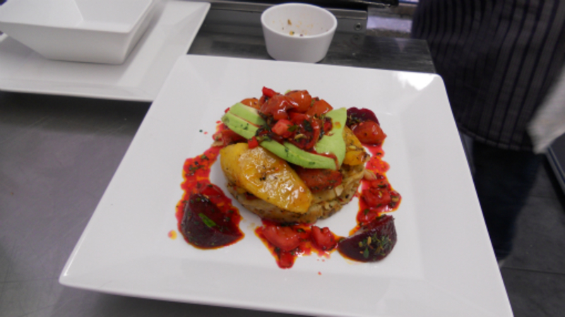 spiced hash cake grilled plantain and a beetroot salad