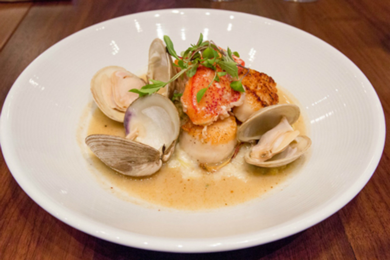 Clams, Lobster, Salmon, Scallops