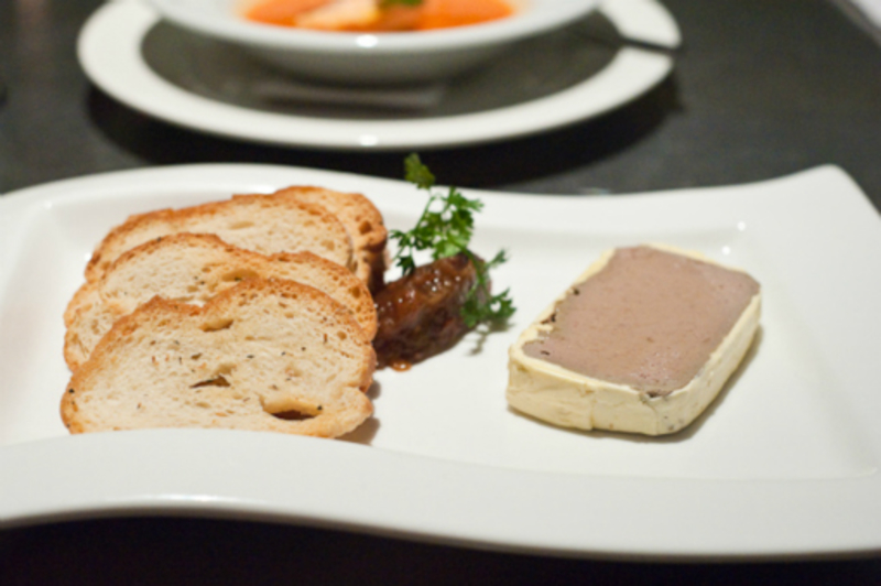 Chicken Liver Parfait, Spiced Pear Chutney, Toasts