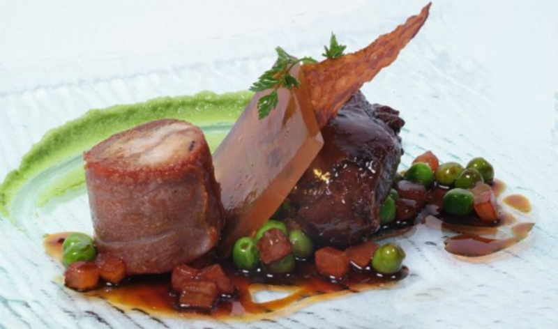 Duet of Braised Pork, Apple Jelly, Garden Pea and Bacon