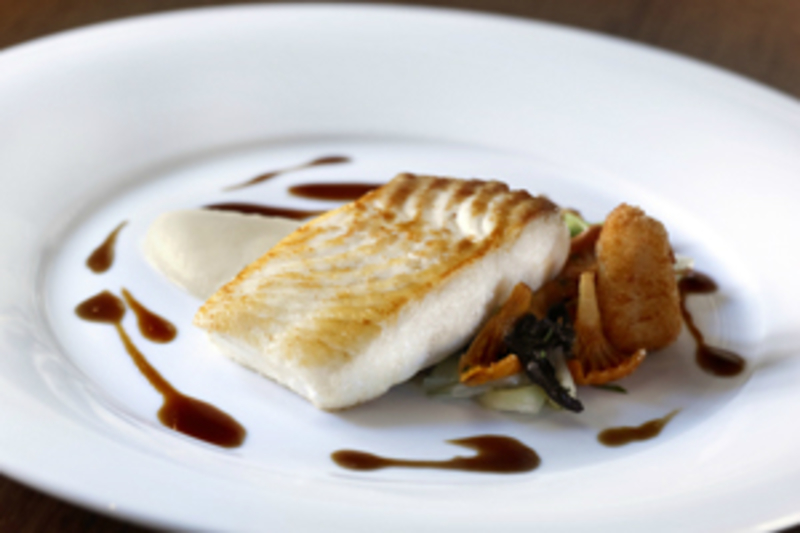 Pan Fried Halibut with Jerusalem Artichoke Puree, Scottish Girolles and Baby Leeks