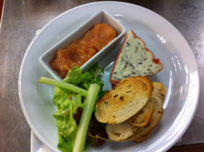 Blue Cheese Red Onion And Parma Ham Terrine Served With Balsamic Croutes