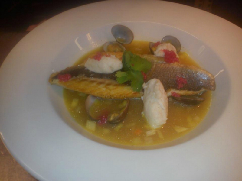 bass and clam chowder with poached scallop quenelles