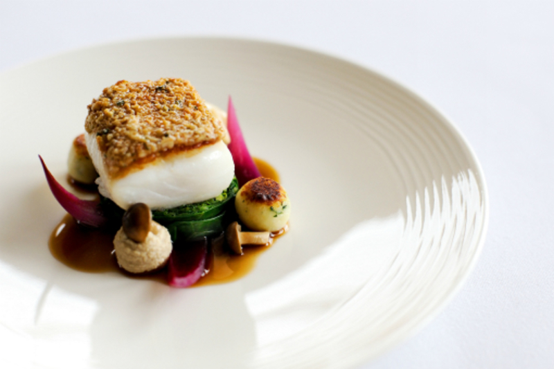 Cod With Hazelnut Crust Mushroom Ketchup And Cabbage By David Griffen Photograph 3