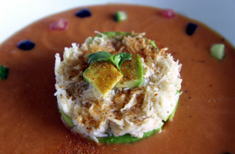 Tian Of Avocado and Crab set on a pool of Gazpacho