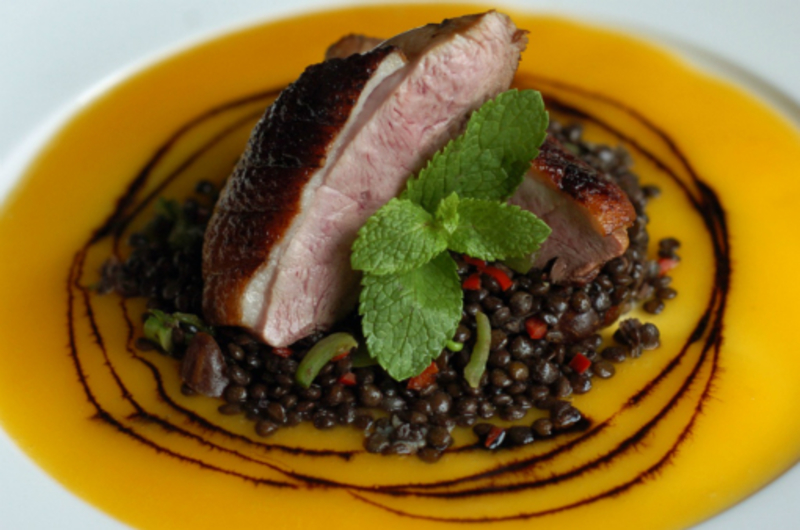 Duck With Beluga Lentils