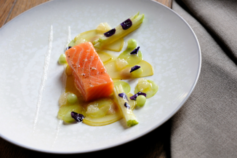 Jasmine Cured Salmon Viola Flowers Pickled Apple Jasmine Oil David Griffen Photography