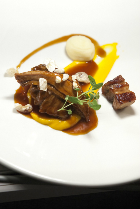 Braised Pigs Head, Confit Turnip and Carrot Puree.