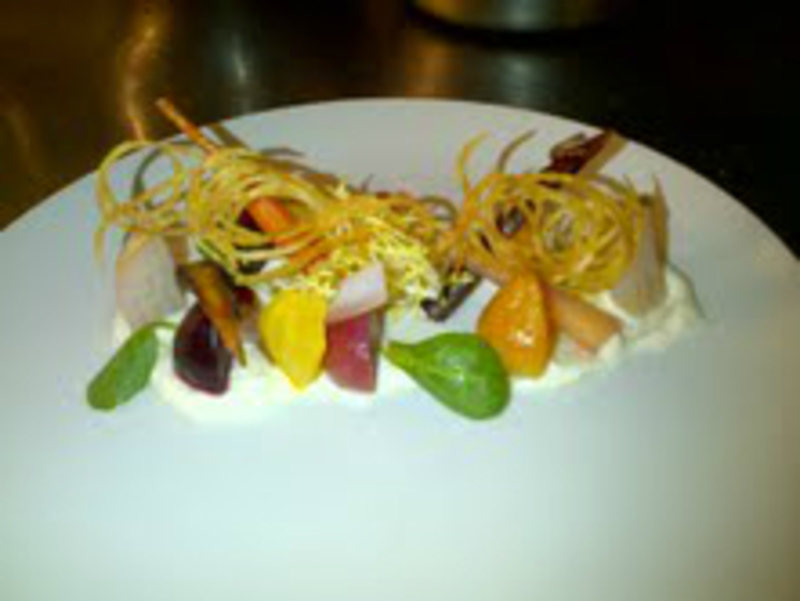Goats Cheese Mousse Heirloom Beets And Carrots Potato Wafer
