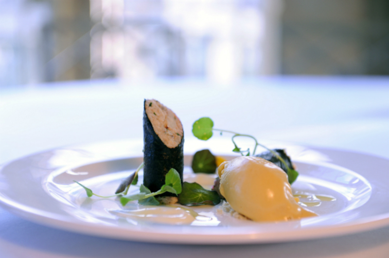 crab roll with wasbi cream and sweetcorn sorbet