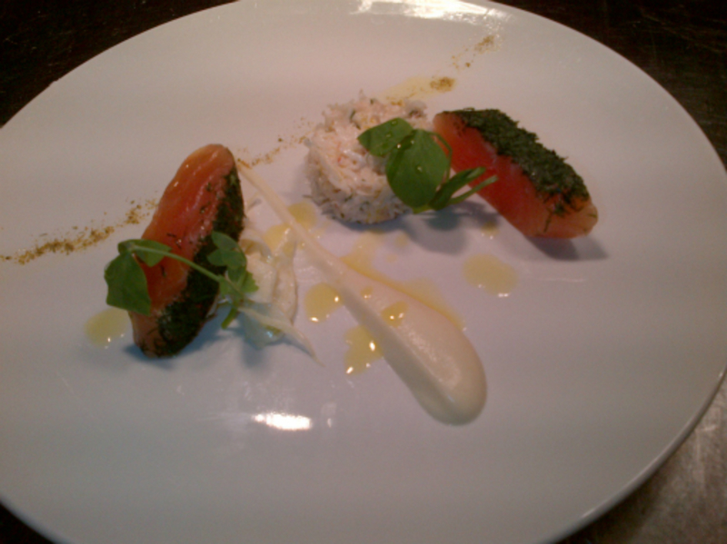 Dill Cured Salmon Cornish Crab Cauliflower And Fennel Polen