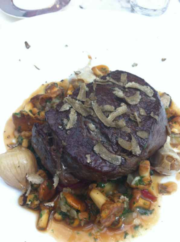 fillet of beef, girolles, chard, confit garlic