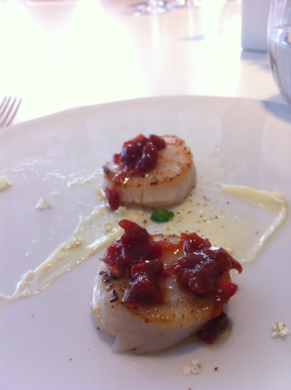 scallops, with a strawberry sauce vierge