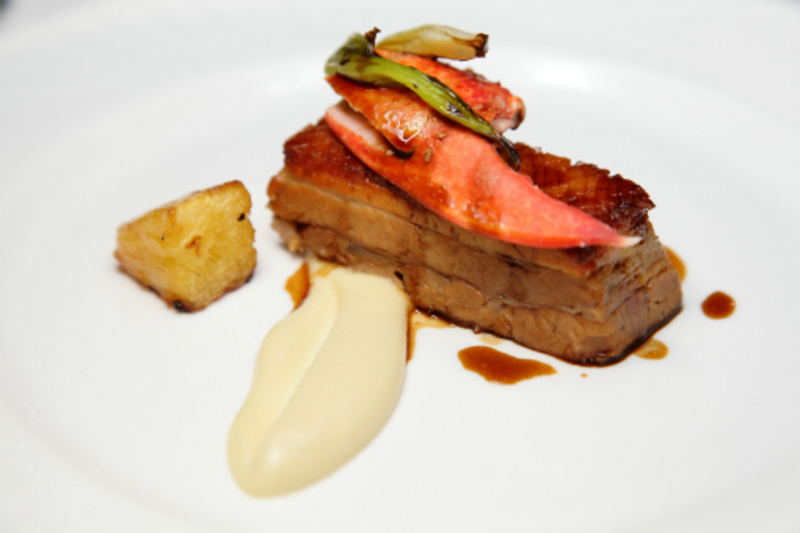 Chris and James Tanner - Slow Roast Pork Belly with Lobster, Pineapple and Cauliflower.