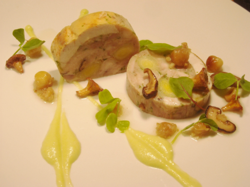 Chicken Leek And Musroom Terrine Pickled Mushrooms Hazelnut Dressing