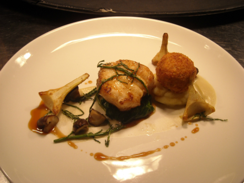 Roast Monkfish Confit Duck Baby Artichokes And Samphire