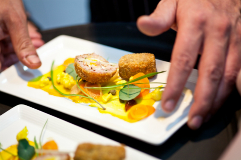 Dingley Dell Crispy Pig's Head, Ham Scotch Egg, Piccalilli and Nasturtium