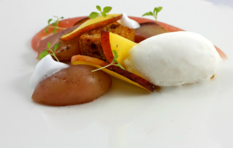 Poached Peach With Champagne Sorbet And Pannetone 2