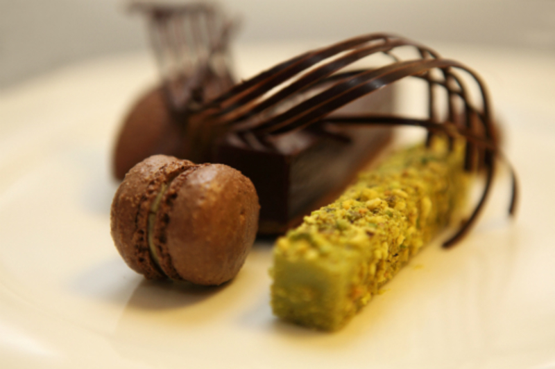 Valrhona Chocolate Tart With Pistachio Mousse And Dark Chocolate Sorbet