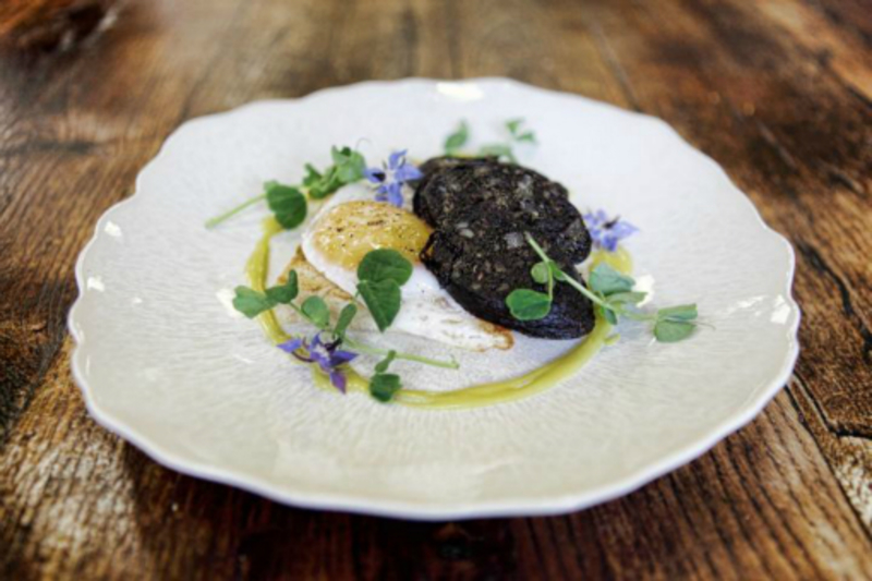Fried Fluffett S Farm Duck Egg Bartlett S Black Pudding W Coleman S Mustard Vinaigrette Borage Flowers